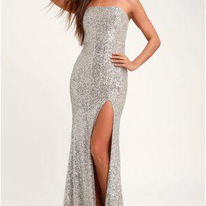 Lavish Lover Silver Strapless Sequin Maxi Dress